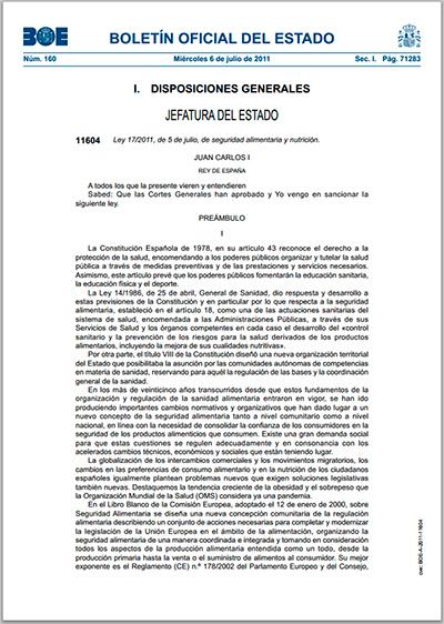 Ley 17/2011, de 5 de julio, de seguridad alimentaria y nutrición